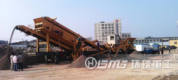 建筑la圾yidongpo碎站设bei,可将建筑la圾渣tupo碎、shai选,fen离出来再造沙石