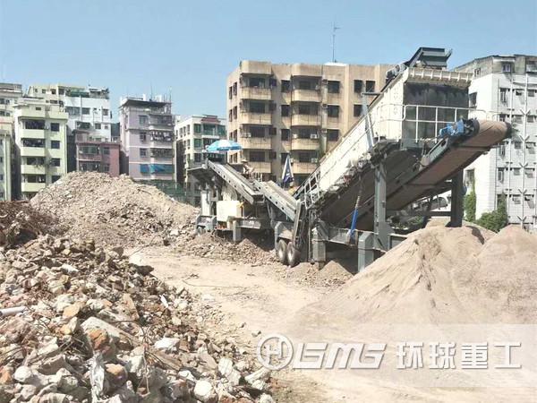 移动式建筑laji破碎站解决henan建筑laji再zaonan题